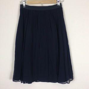 J. Crew Navy Blue Silk Midi Skirt